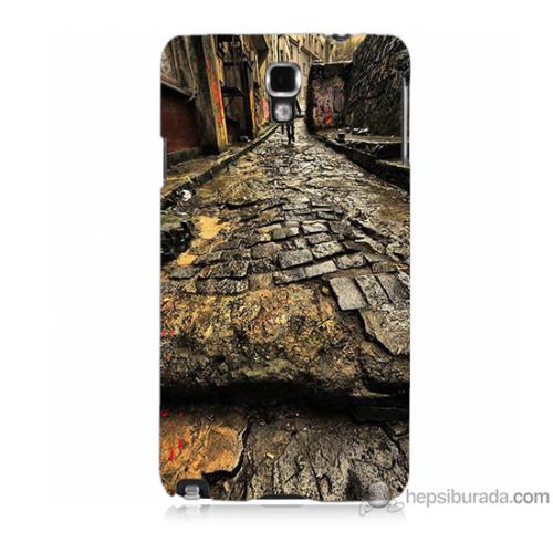 Bordo Samsung Galaxy Note 3 Neo Arnavut Kaldırım Baskılı Silikon Kapak Kılıf