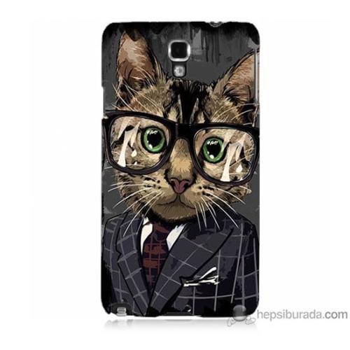 Bordo Samsung Galaxy Note 3 Neo Çalışan Kedicik Baskılı Silikon Kapak Kılıf