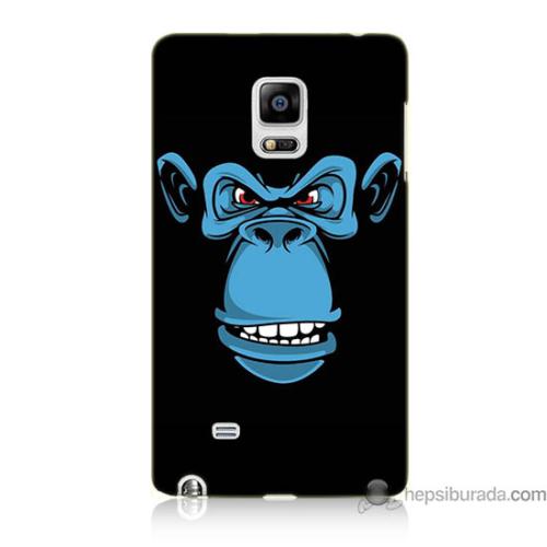 Bordo Samsung Galaxy Note Edge Mavi Goril Baskılı Silikon Kapak Kılıf