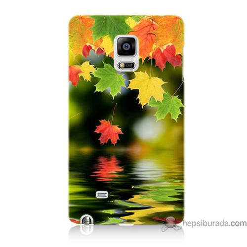 Bordo Samsung Galaxy Note Edge Renkli Yaprak Baskılı Silikon Kapak Kılıf