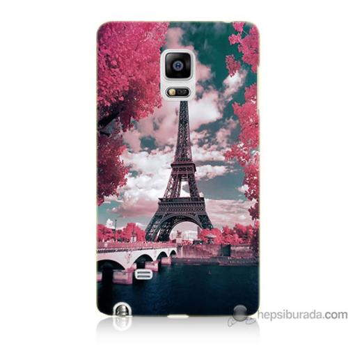Bordo Samsung Galaxy Note Edge İlkbahar Paris Baskılı Silikon Kapak Kılıf