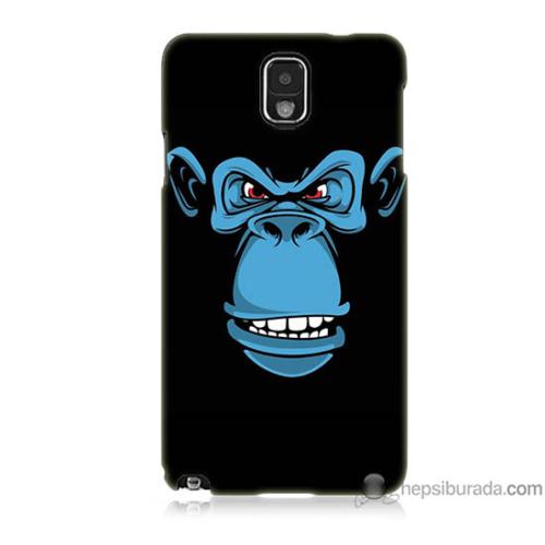 Bordo Samsung Galaxy Note 3 Mavi Goril Baskılı Silikon Kapak Kılıf