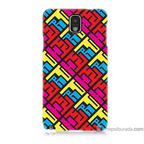 Bordo Samsung Galaxy Note 3 Çizimler Baskılı Silikon Kapak Kılıf