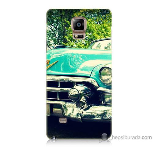 Bordo Samsung Galaxy Note 4 Klasik Araba Baskılı Silikon Kapak Kılıf