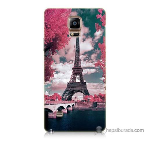 Bordo Samsung Galaxy Note 4 İlkbahar Paris Baskılı Silikon Kapak Kılıf