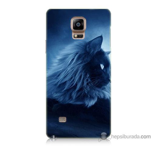 Bordo Samsung Galaxy Note 4 3D Kedicik Baskılı Silikon Kapak Kılıf