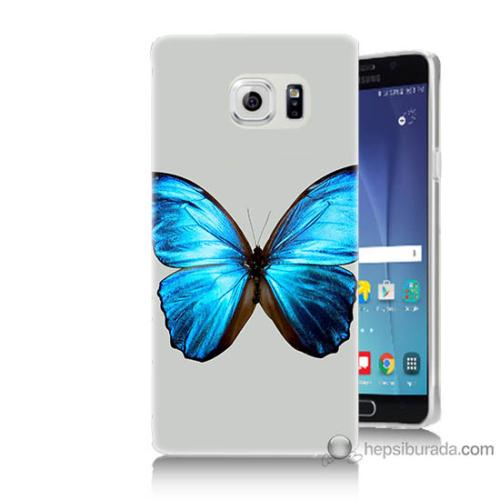 Bordo Samsung Galaxy Note 5 Tek Kelebek Baskılı Silikon Kapak Kılıf
