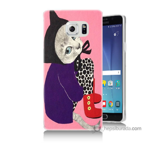 Bordo Samsung Galaxy Note 5 Kedicik Baskılı Silikon Kapak Kılıf