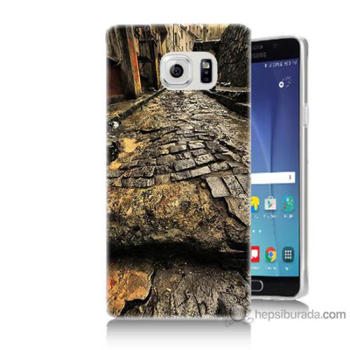 Bordo Samsung Galaxy Note 5 Arnavut Kaldırım Baskılı Silikon Kapak Kılıf