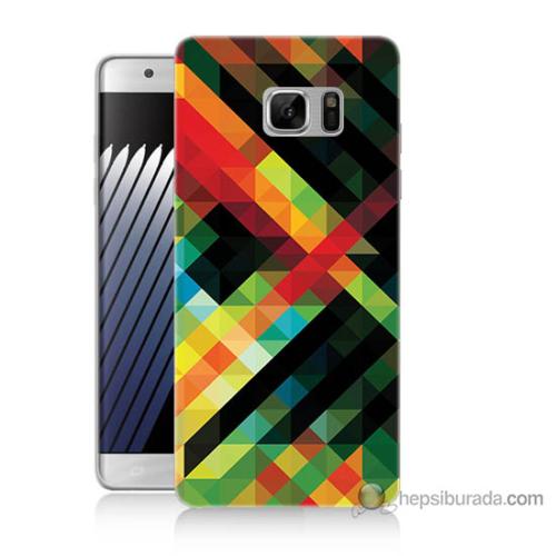Bordo Samsung Galaxy Note 7 Renkli Çizgiler Baskılı Silikon Kapak Kılıf