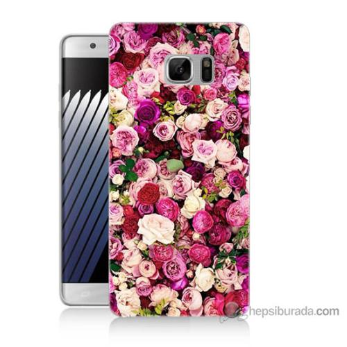 Bordo Samsung Galaxy Note 7 Renkli Güller Baskılı Silikon Kapak Kılıf