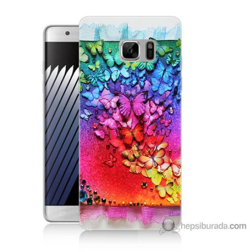 Bordo Samsung Galaxy Note 7 Kelebekler Baskılı Silikon Kapak Kılıf