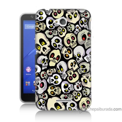 Bordo Sony Xperia E4G Üzgün Kuru Kafalar Baskılı Silikon Kapak Kılıf