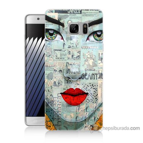 Bordo Samsung Galaxy Note 7 Karikatür Yüz Baskılı Silikon Kapak Kılıf