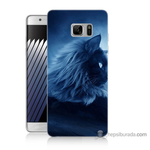 Bordo Samsung Galaxy Note 7 3D Kedicik Baskılı Silikon Kapak Kılıf