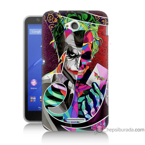 Bordo Sony Xperia E4G Renkli Joker Baskılı Silikon Kapak Kılıf
