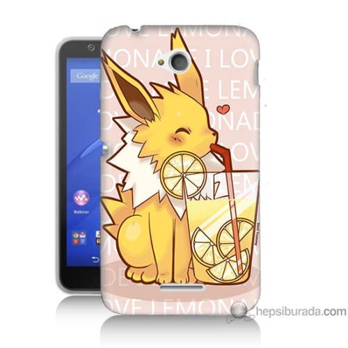 Bordo Sony Xperia E4G Sevimli Pokemon Baskılı Silikon Kapak Kılıf