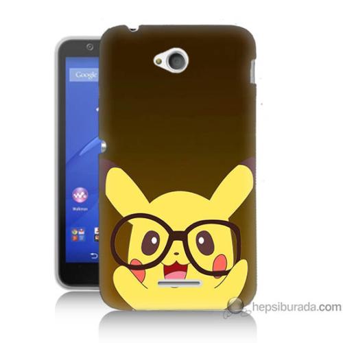 Bordo Sony Xperia E4G Gözlüklü Pikachu Baskılı Silikon Kapak Kılıf