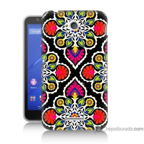 Bordo Sony Xperia E4G Patchwork Baskılı Silikon Kapak Kılıf