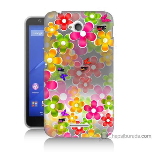 Bordo Sony Xperia E4G 3D Çiçek Baskılı Silikon Kapak Kılıf