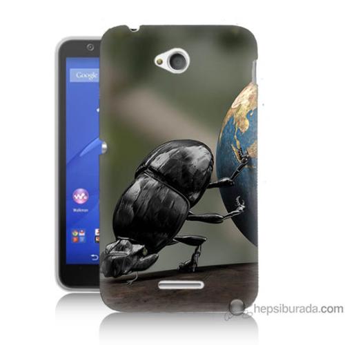 Bordo Sony Xperia E4G Dünyayı İten Böcek Baskılı Silikon Kapak Kılıf