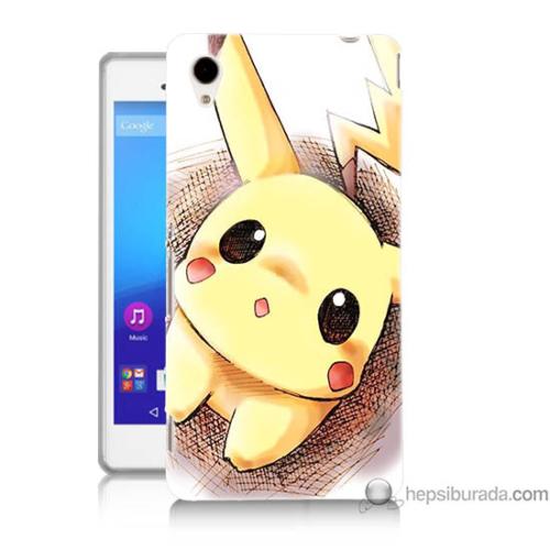Bordo Sony Xperia M4 Aqua Pokemon Resim Baskılı Silikon Kapak Kılıf