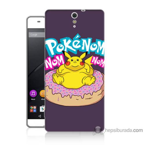 Bordo Sony Xperia C5 Obur Pokemon Baskılı Silikon Kapak Kılıf
