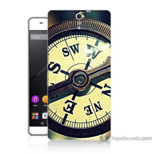 Bordo Sony Xperia C5 Pusula Baskılı Silikon Kapak Kılıf