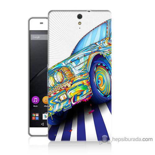 Bordo Sony Xperia C5 Mavi Araba Baskılı Silikon Kapak Kılıf
