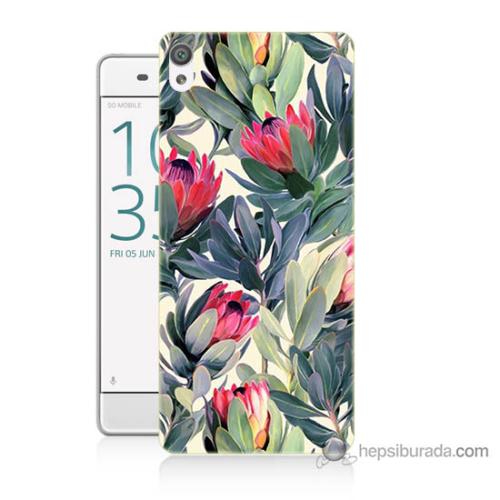Bordo Sony Xperia E5 Tablo Resim Baskılı Silikon Kapak Kılıf
