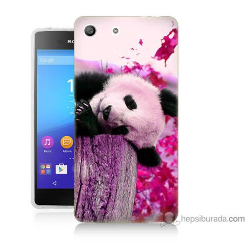 Bordo Sony Xperia M5 Sevimli Panda Baskılı Silikon Kapak Kılıf
