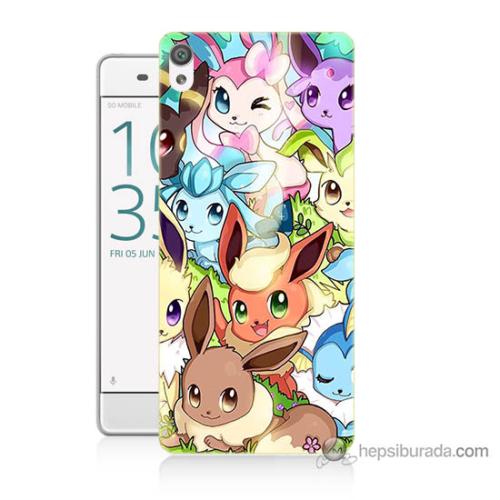 Bordo Sony Xperia Xa Pokemon Baskılı Silikon Kapak Kılıf