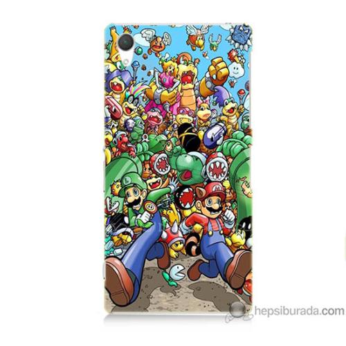 Bordo Sony Xperia Z2 Mario Baskılı Silikon Kapak Kılıf