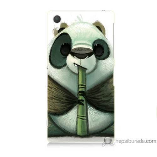 Bordo Sony Xperia Z2 Flütlü Panda Baskılı Silikon Kapak Kılıf