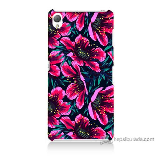 Bordo Sony Xperia Z3 Pembe Çiçek Baskılı Silikon Kapak Kılıf