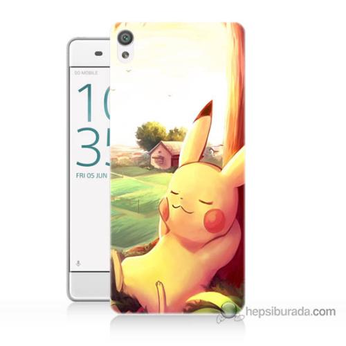 Bordo Sony Xperia Z5 Pokemon Doğa Baskılı Silikon Kapak Kılıf