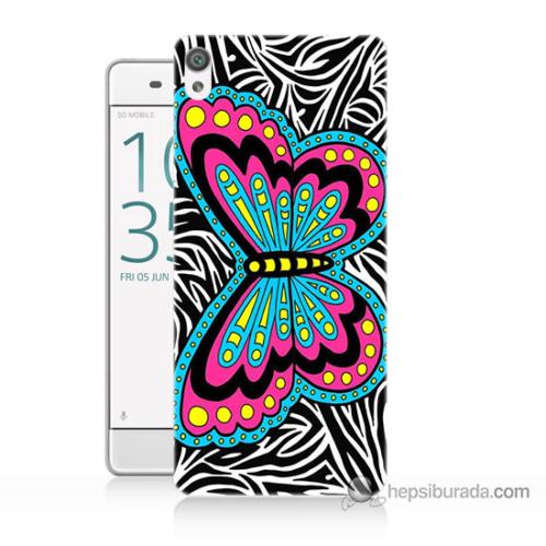 Bordo Sony Xperia Z5 Compact Çizim Kelebek Baskılı Silikon Kapak Kılıf