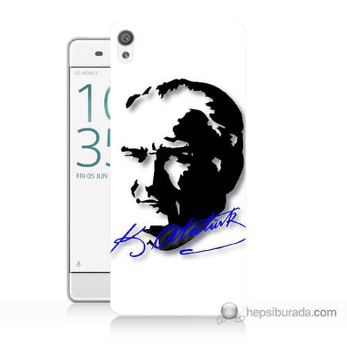 Bordo Sony Xperia Z5 Compact Atatürk İmza Mavi Baskılı Silikon Kapak Kılıf