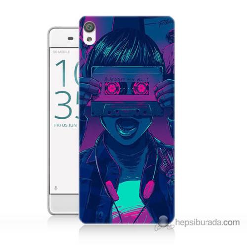 Bordo Sony Xperia Z5 Compact Kaset Göz Baskılı Silikon Kapak Kılıf