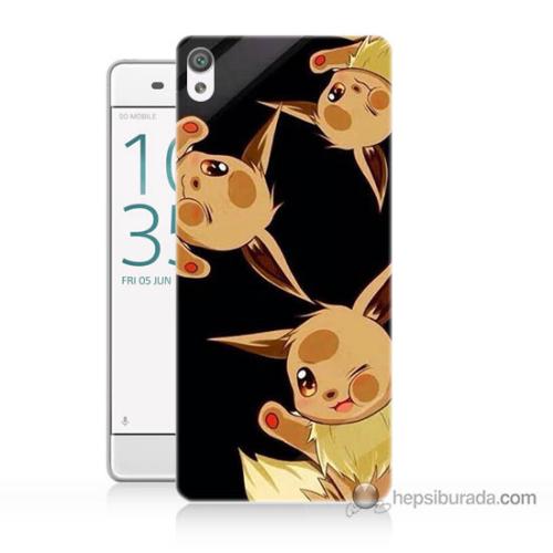 Bordo Sony Xperia Z5 Compact Üçlü Pikachu Baskılı Silikon Kapak Kılıf