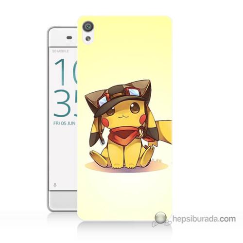 Bordo Sony Xperia Z5 Compact Pokemon Baskılı Silikon Kapak Kılıf