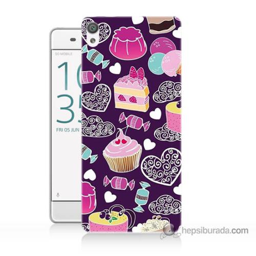 Bordo Sony Xperia Z5 Compact Renkli Pastalar Baskılı Silikon Kapak Kılıf