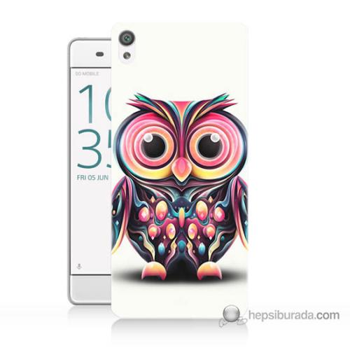 Bordo Sony Xperia Z5 Compact Renkli Baykuş Baskılı Silikon Kapak Kılıf