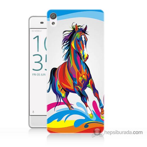 Bordo Sony Xperia Z5 Compact Renkli At Baskılı Silikon Kapak Kılıf