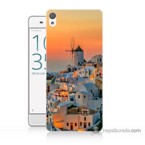 Bordo Sony Xperia Z5 Compact Manzara Yunanistan Baskılı Silikon Kapak Kılıf