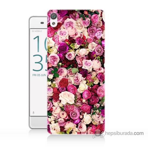 Bordo Sony Xperia Z5 Mini Renkli Güller Baskılı Silikon Kapak Kılıf