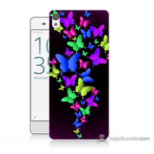 Bordo Sony Xperia Z5 Premium Renkli Kelebekler Baskılı Silikon Kapak Kılıf