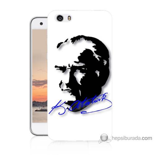 Bordo Vestel Venüs V3 5570 Atatürk İmza Mavi Baskılı Silikon Kapak Kılıf