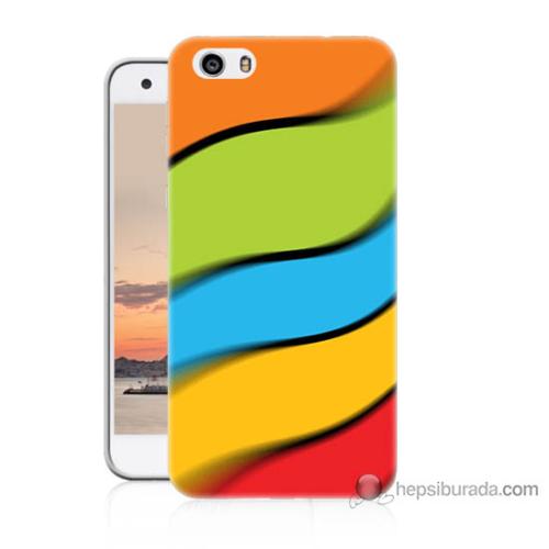 Bordo Vestel Venüs V3 5570 Renkli Kuşaklar Baskılı Silikon Kapak Kılıf