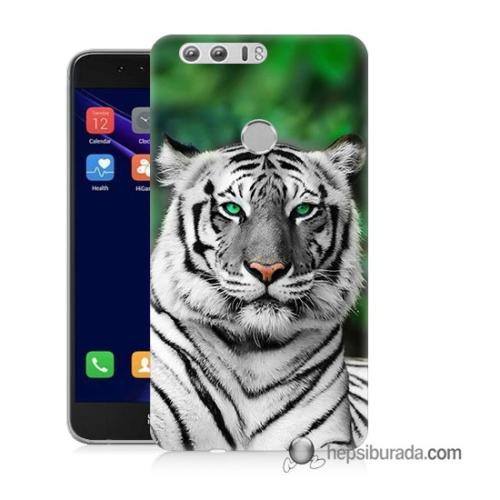 Teknomeg Huawei Honor 8 Kılıf Kapak Beyaz Kaplan Baskılı Silikon